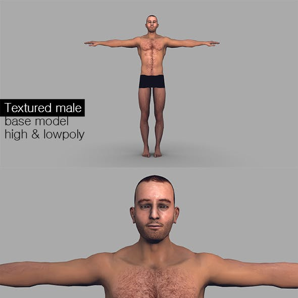 Textured Male Base Mesh Game Model