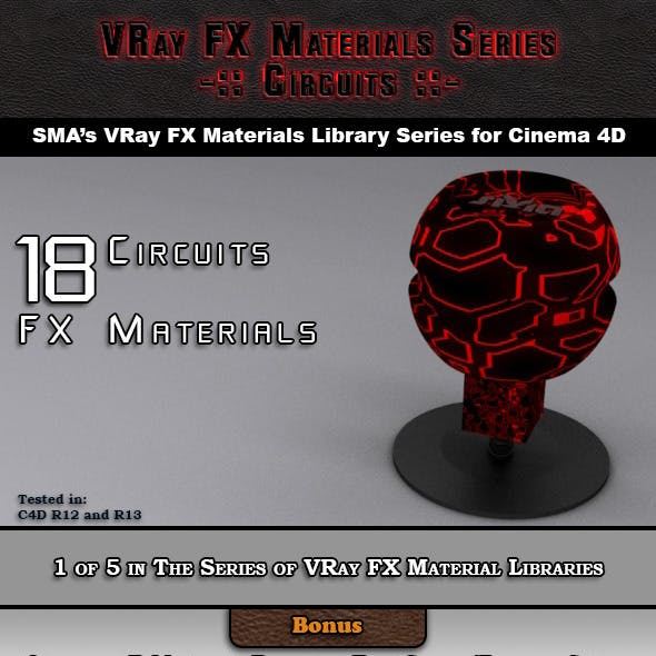 18 VRay FX Circuits Material Pack for Cinema 4D