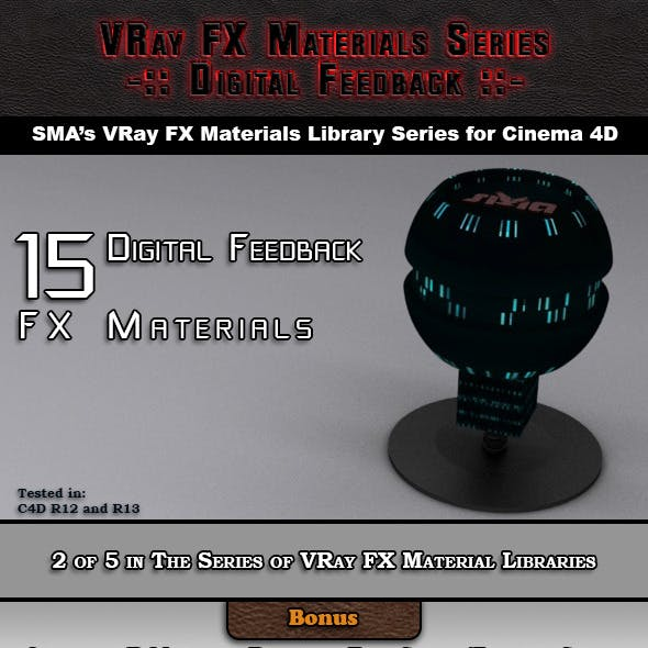 15 VRay FX Digital Feedback Materials Pack C4D