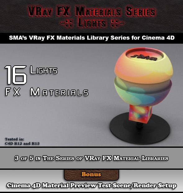 16 VRay FX Lights Materials Pack for Cinema 4D - 3DOcean Item for Sale