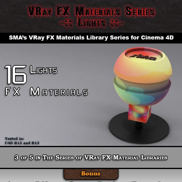 16 VRay FX Lights Materials Pack for Cinema 4D