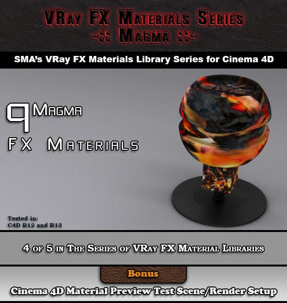 9 VRay FX Magma Materials Pack for Cinema 4D - 3DOcean Item for Sale