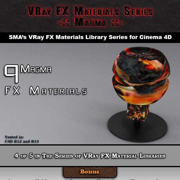 9 VRay FX Magma Materials Pack for Cinema 4D