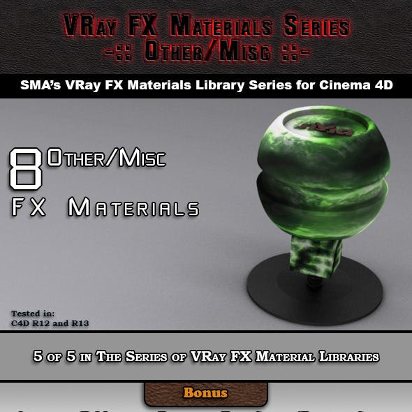 8 VRay FX Other/Misc Materials Pack for Cinema 4D