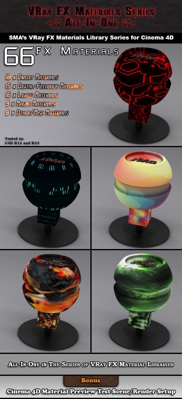 66 VRay FX (AIO) Materials Pack for Cinema 4D - 3DOcean Item for Sale