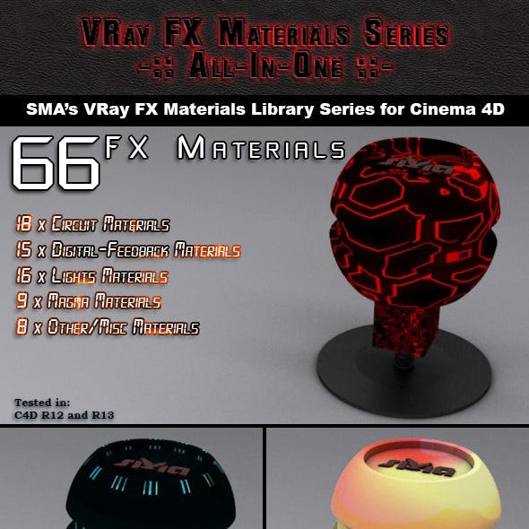 66 VRay FX (AIO) Materials Pack for Cinema 4D