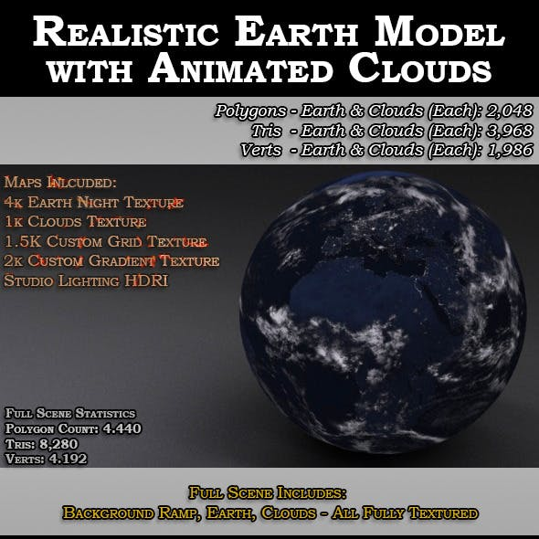Realistic Earth Model with Animated Clouds