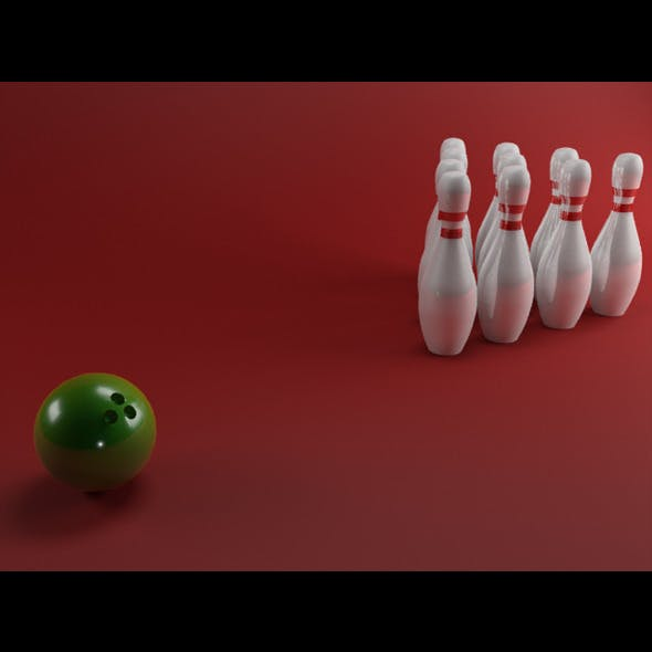 Realistic Bowling Pins w/ Ball