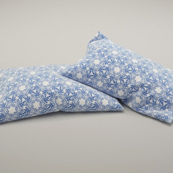 Set of 2 pillows with 5 Vray materials for c4d