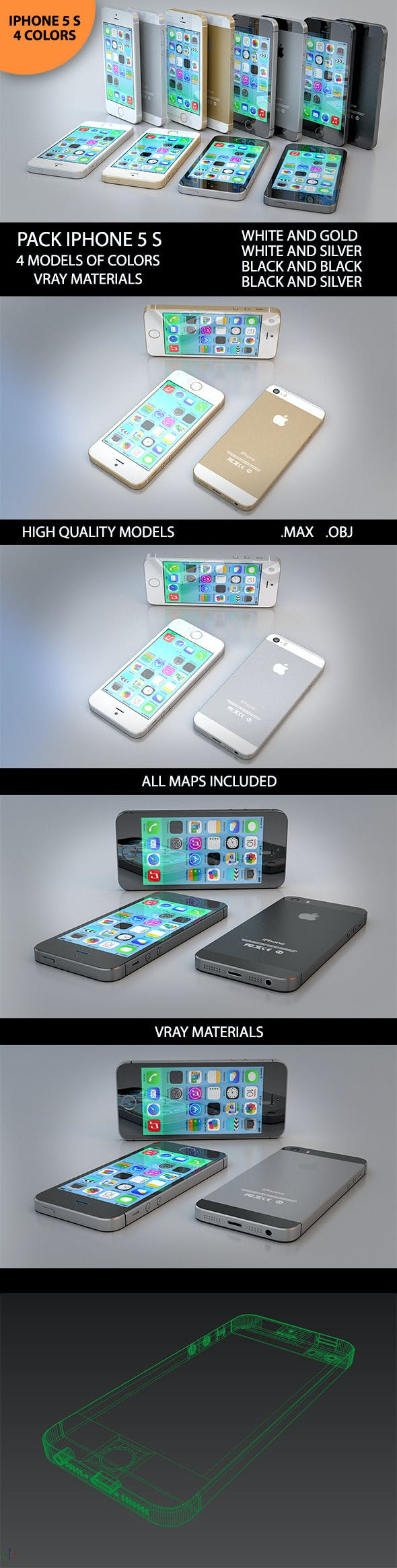 3D New Iphone 5 S - 3DOcean Item for Sale