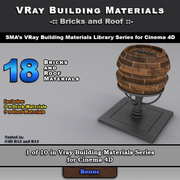 18 VRay Bricks and Roof Materials for Cinema 4D