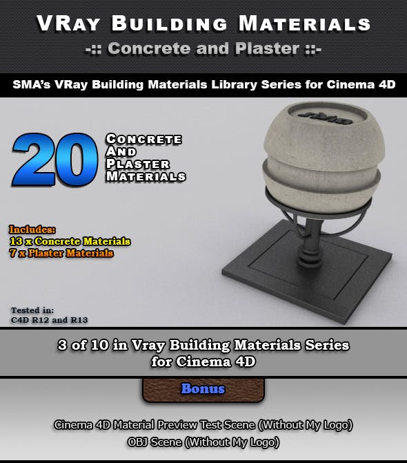 20 Concrete and Plaster Materials for Cinema 4D - 3DOcean Item for Sale