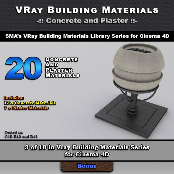 20 Concrete and Plaster Materials for Cinema 4D