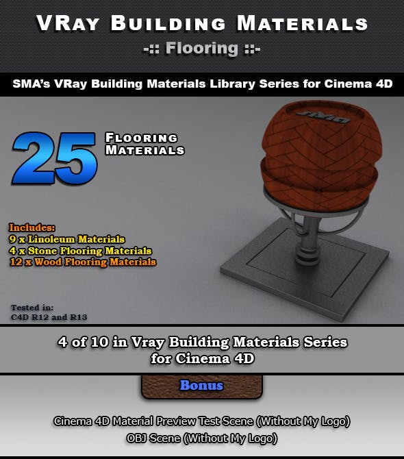 25 VRay Flooring Materials for Cinema 4D - 3DOcean Item for Sale