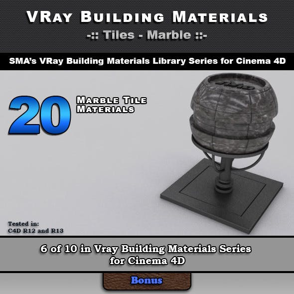 20 VRay Marble Tile Materials for Cinema 4D