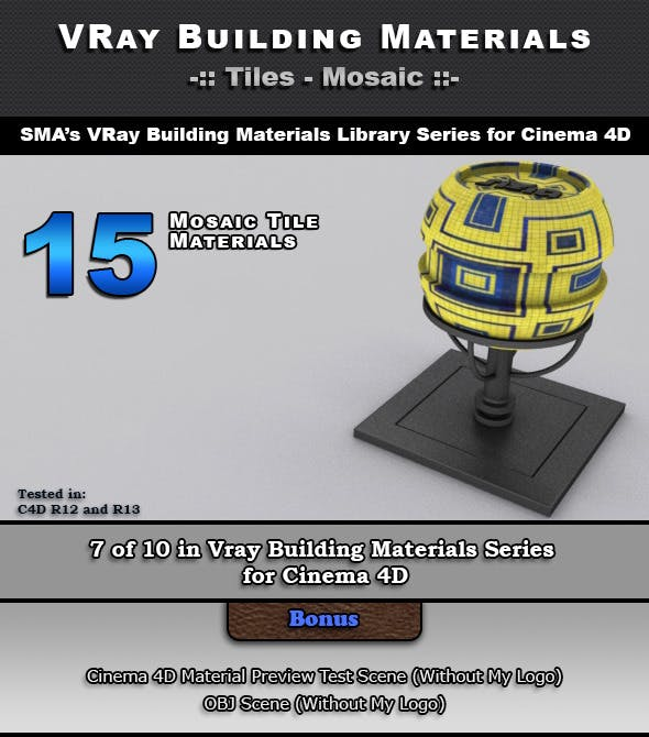 15 VRay Mosaic Tile Materials for Cinema 4D - 3DOcean Item for Sale