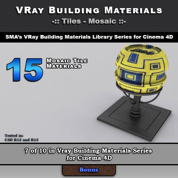 15 VRay Mosaic Tile Materials for Cinema 4D