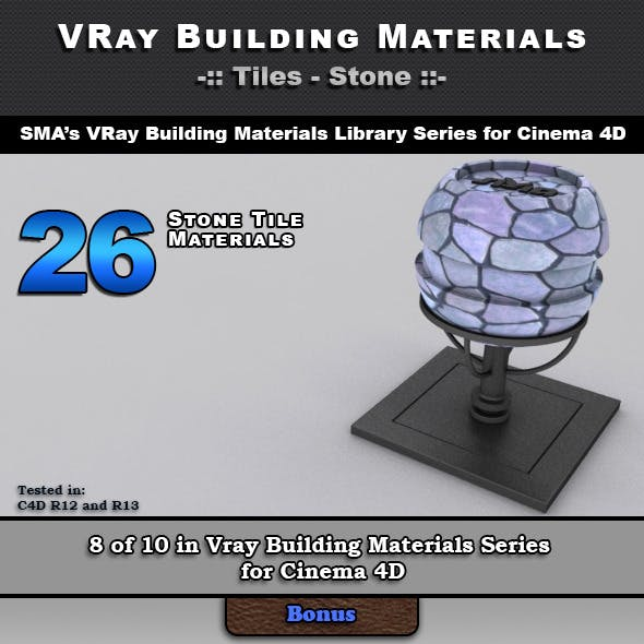 26 VRay Stone Tile Materials for Cinema 4D