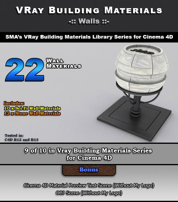 22 VRay Wall Materials for Cinema 4D - 3DOcean Item for Sale
