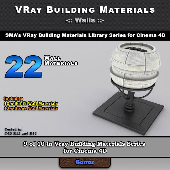 22 VRay Wall Materials for Cinema 4D
