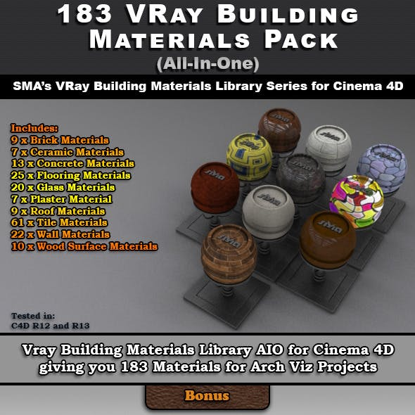 183 VRay Building Materials Pack for Cinema 4D