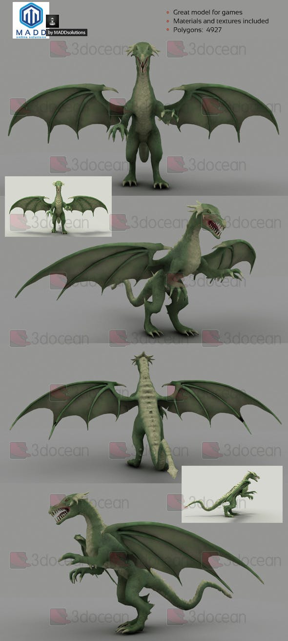 Low Poly Green Dragon - 4927 polygons - 3DOcean Item for Sale