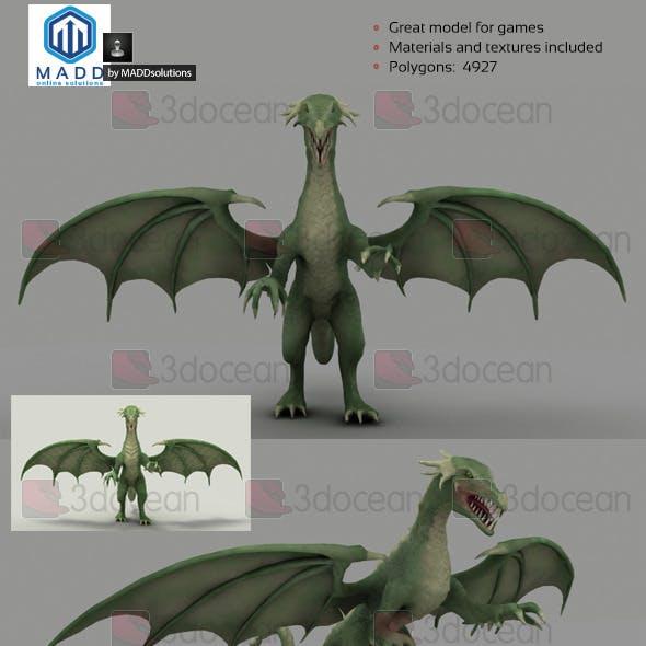 Low Poly Green Dragon - 4927 polygons