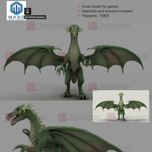 High Poly Green Dragon - 75801 polygons