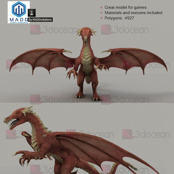 Low Poly Red Dragon - 4927 polygons