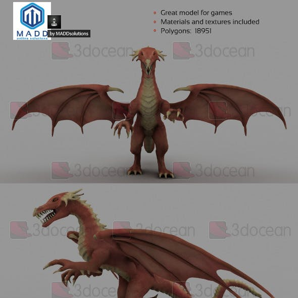 Mid Poly Red Dragon - 18951 polygons