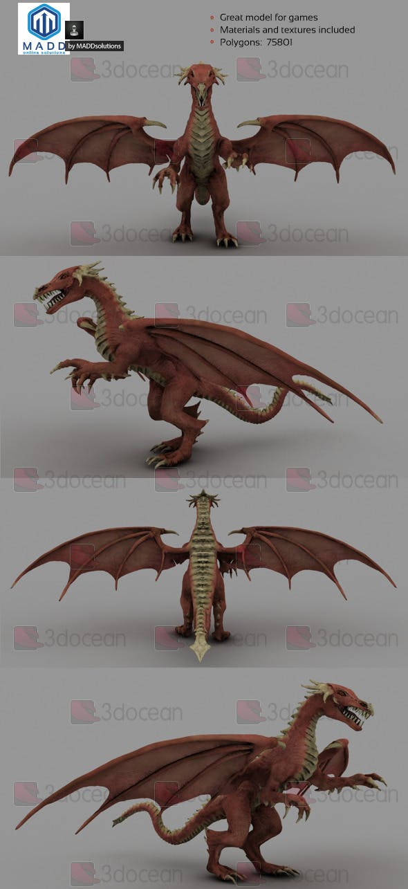 High Poly Red Dragon - 75801 polygons - 3DOcean Item for Sale