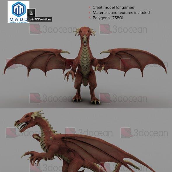 High Poly Red Dragon - 75801 polygons