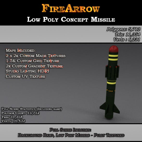 Fire Arrow - Low Poly Concept Missile