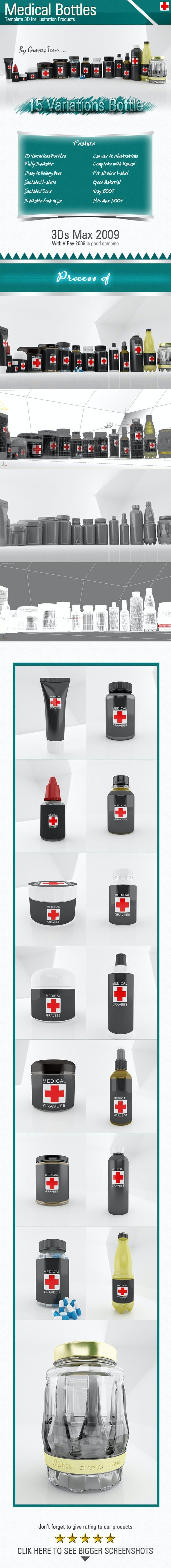 Medical Bottles - 3DOcean Item for Sale