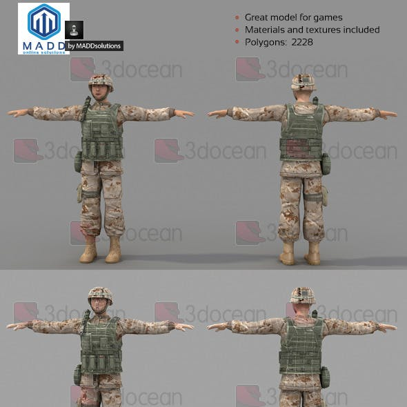 Low Poly Soldier With Vest and Helmet