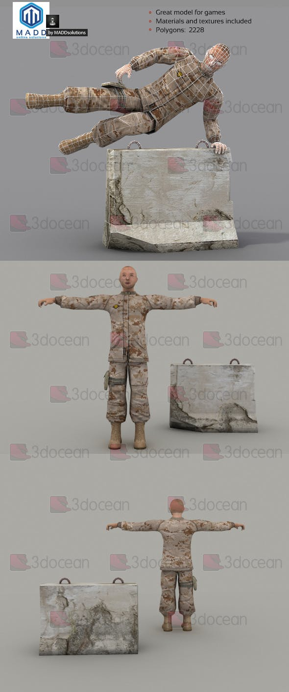 Rigged Low Poly Soldier - 3DOcean Item for Sale