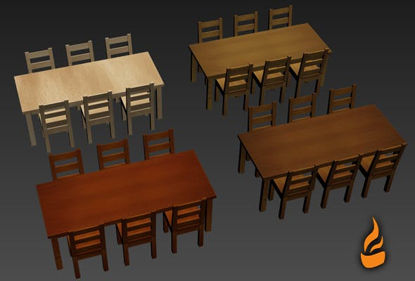 Table and Chair pack - 3DOcean Item for Sale