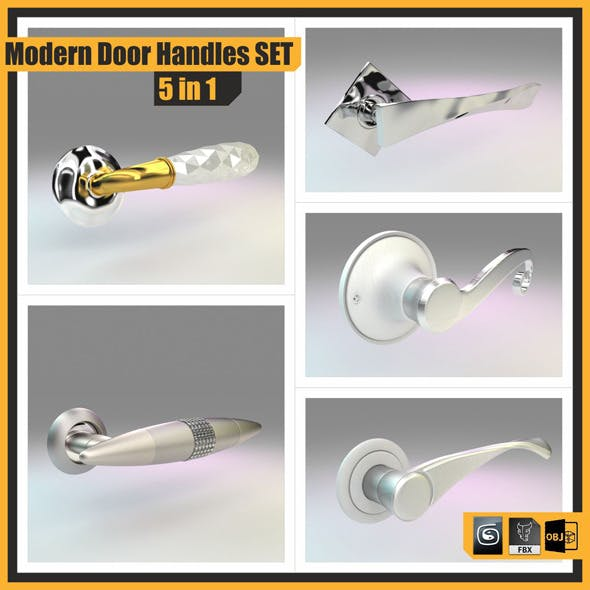 Modern Door Handles Set, 5 in 1