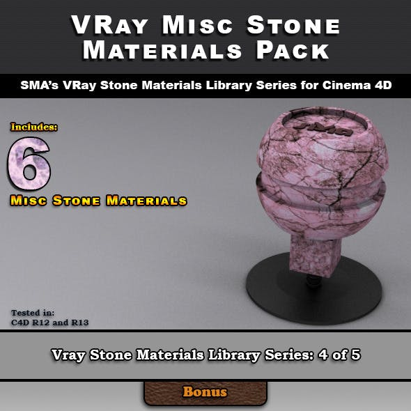 6 Miscellaneous VRay Stone Materials for Cinema 4D