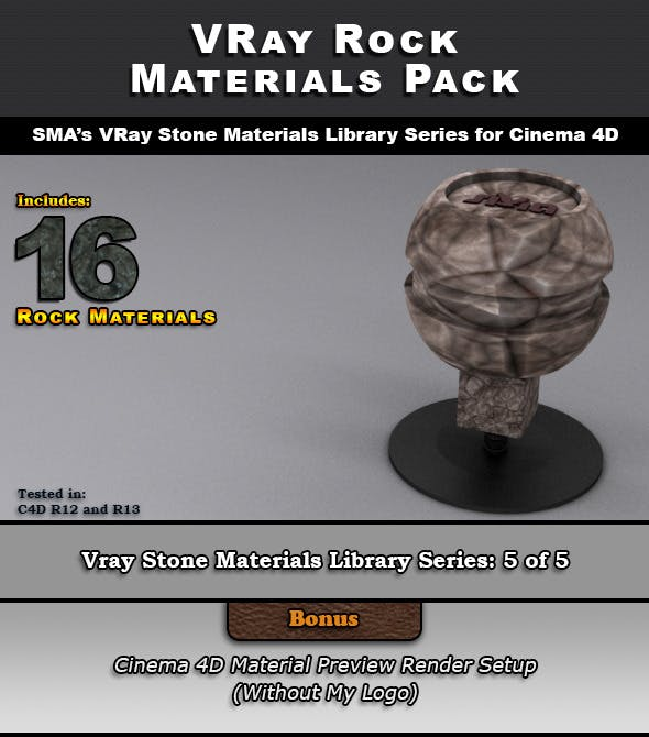 16 VRay Rock Materials for Cinema 4D - 3DOcean Item for Sale