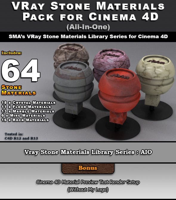 64 VRay Stone Materials Pack (AIO) for Cinema 4D by