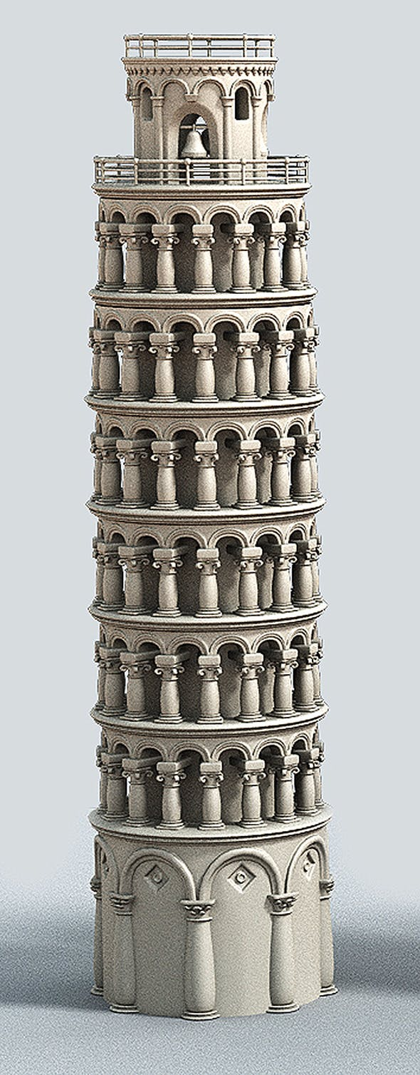 Cartoon Tower of Pisa - 3DOcean Item for Sale