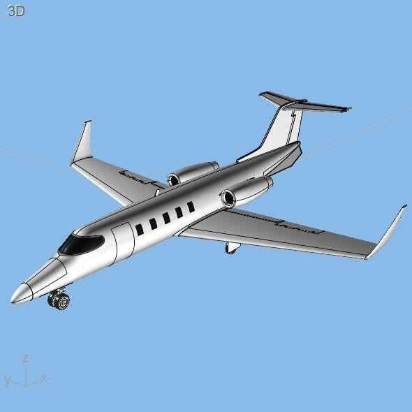 Learjet 28-29 Longhorn private jet CAD model