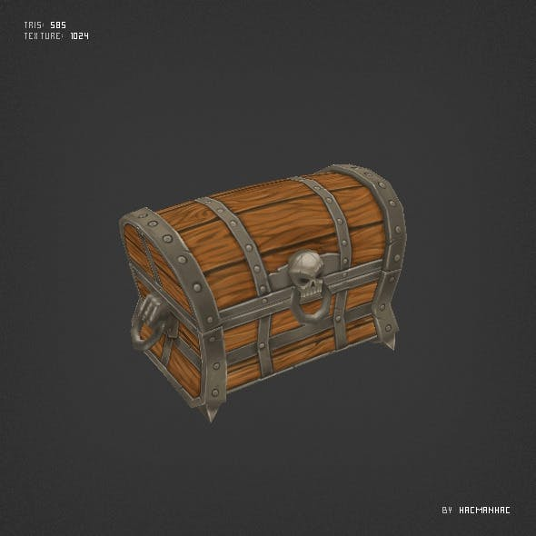 Low poly chest of gold - 3DOcean Item for Sale