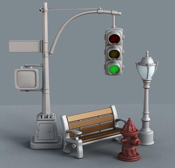 New York street props - 3DOcean Item for Sale
