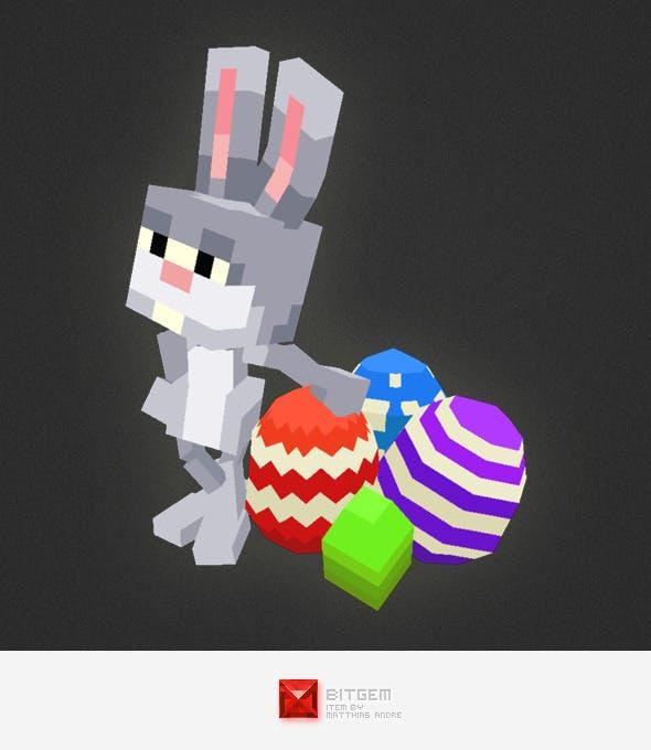 Low Poly 3D Pixel Rabbit - 3DOcean Item for Sale