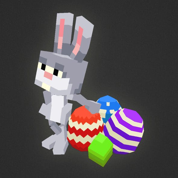 Low Poly 3D Pixel Rabbit