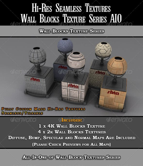 Hi-Res Wall Blocks Texture Series All-In-One - 3DOcean Item for Sale