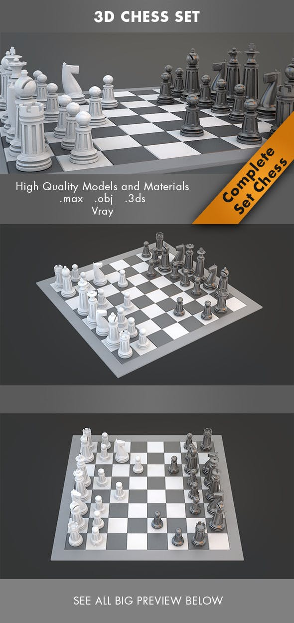 3d Chess Set - 3DOcean Item for Sale