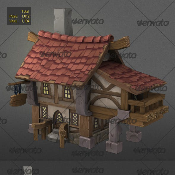 low poly wood house 2